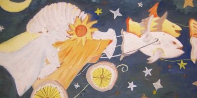 tempera 1970 xenia luna sol noche